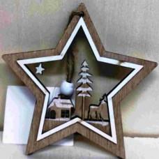Dřevěná ozdoba Hvězda hnědá